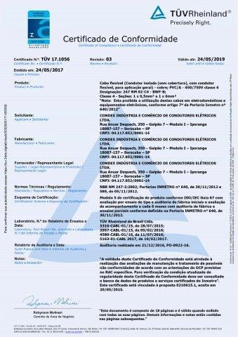 TUV 17.1056  Flexível  450-750V C4 rev.3